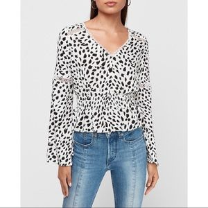 EXPRESS Spotted Jacquard Lace Bell Sleeve Top